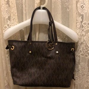 MICHAEL KORS-SIGNATURE BROWN 'MK' BAG